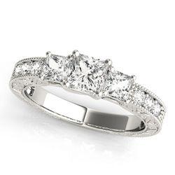 14K White Gold Three Stone Princess Shape Diamond Engagement Ring