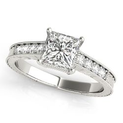 14K White Gold Vintage Princess Shape Diamond Engagement Ring