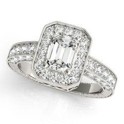 14K White Gold Vintage Emerald Shape Diamond Engagement Ring