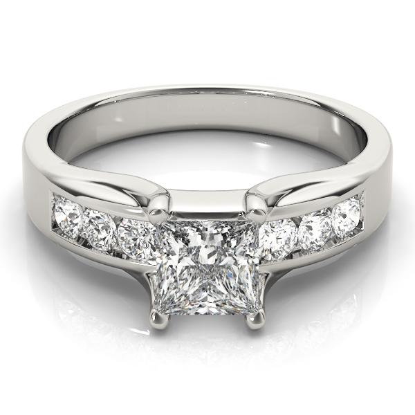 14k-white-gold-single-row-princess-shape-diamond-engagement-ring-83199-14K-White-Gold