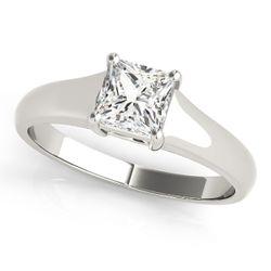 14K White Gold Solitaire Princess Shape Diamond Engagement Ring