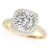 14K Yellow Gold Curved Diamond Wedding Ring