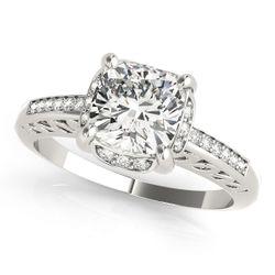 14K White Gold Single Row Cushion Shape Diamond Engagement Ring