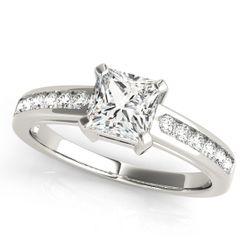 14K White Gold Single Row Princess Shape Diamond Engagement Ring