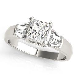 14K White Gold Pave Princess Shape Diamond Engagement Ring