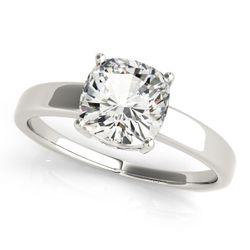 14K White Gold Solitaire Cushion Shape Diamond Engagement Ring
