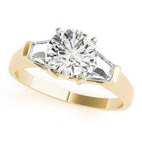 14K Yellow Gold Three Stone Diamond Engagement Ring