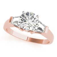 14K Rose Gold Three Stone Diamond Engagement Ring