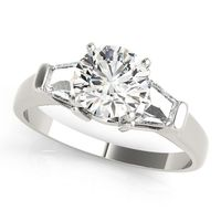 14K White Gold Three Stone Diamond Fashion Ring
