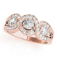 14K Rose Gold Three Stone Round Shape Diamond Engagement Ring