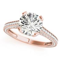 14K Rose Gold Vintage Round Shape Diamond Engagement Ring