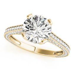 14K Yellow Gold Vintage Round Shape Diamond Engagement Ring