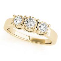 18K Yellow Gold Three Stone Round Shape Diamond Engagement Ring