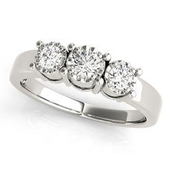 14K White Gold Three Stone Round Shape Diamond Engagement Ring