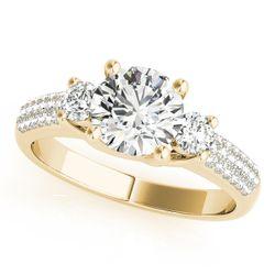 14K Yellow Gold Three Stone Round Shape Diamond Engagement Ring