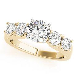 14K Yellow Gold Single Row Round Shape Diamond Engagement Ring