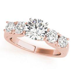 14K Rose Gold Single Row Round Shape Diamond Engagement Ring