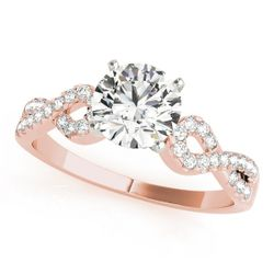 14K Rose Gold Multirow Round Shape Diamond Engagement Ring