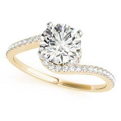 14K Yellow Gold Bypass Round Shape Diamond Engagement Ring