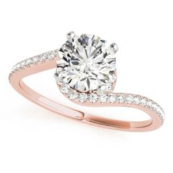 14K Rose Gold Bypass Round Shape Diamond Engagement Ring
