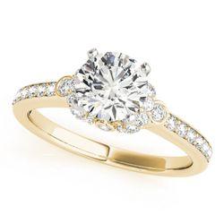 14K Yellow Gold Side Stone Round Shape Diamond Engagement Ring