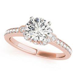 14K Rose Gold Side Stone Round Shape Diamond Engagement Ring