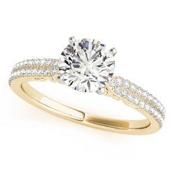 14K Yellow Gold Pave Round Shape Diamond Engagement Ring