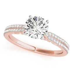 14K Rose Gold Pave Round Shape Diamond Engagement Ring
