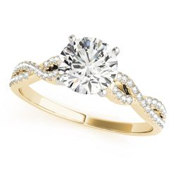 14K Yellow Gold Multirow Round Shape Diamond Engagement Ring