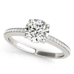14K White Gold Single Row Round Shape Diamond Engagement Ring