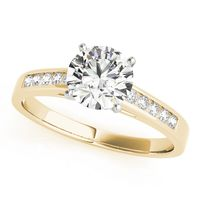 14K Yellow Gold Single Row Diamond Engagement Ring