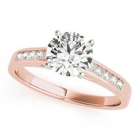 14K Rose Gold Single Row Diamond Engagement Ring