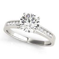 14K White Gold Single Row Diamond Fashion Ring