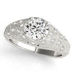 14K White Gold Vintage Round Shape Diamond Engagement Ring