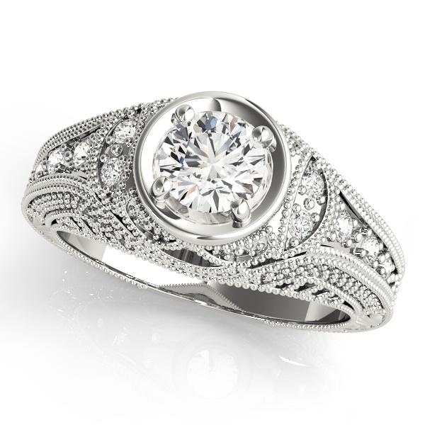 14k-white-gold-vintage-round-shape-diamond-engagement-ring-84545-14K-White-Gold