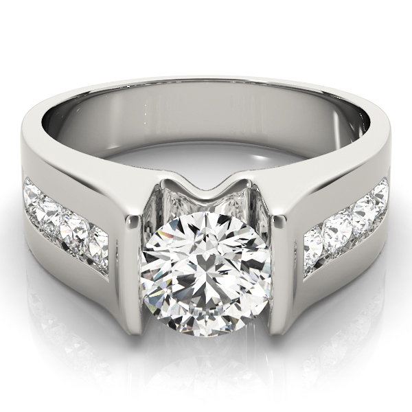 14k-white-gold-single-row-round-shape-diamond-engagement-ring-84556-14K-White-Gold