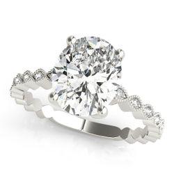 14K White Gold Vintage Oval Shape Diamond Engagement Ring