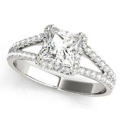 14K White Gold Halo Cushion Shape Diamond Engagement Ring