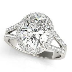 14K White Gold Halo Oval Shape Diamond Engagement Ring