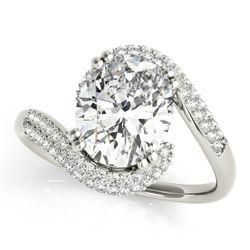 14K White Gold Pave Oval Shape Diamond Engagement Ring
