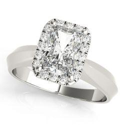 14K White Gold Halo Emerald Shape Diamond Engagement Ring