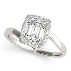 14K White Gold Bypass Emerald Shape Diamond Engagement Ring