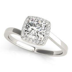14K White Gold Bypass Cushion Shape Diamond Engagement Ring