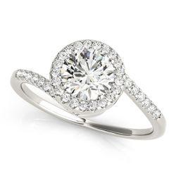 14K White Gold Bypass Round Shape Diamond Engagement Ring