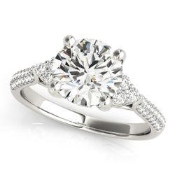 14K White Gold Side Stone Round Shape Diamond Engagement Ring