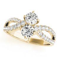 14K Yellow Gold Two Stone Diamond Engagement Ring