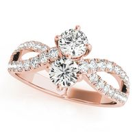 14K Rose Gold Two Stone Diamond Engagement Ring