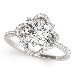 14K White Gold Halo Round Shape Diamond Engagement Ring