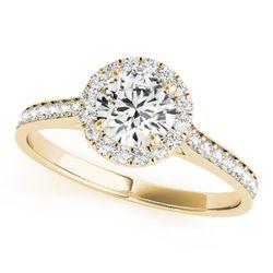 14K Yellow Gold Halo Round Shape Diamond Engagement Ring