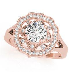 14K Rose Gold Halo Round Shape Diamond Engagement Ring
